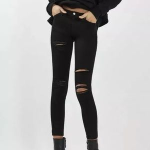 TopShop Moto Leigh Black Super Soft Ripped Jeans 8